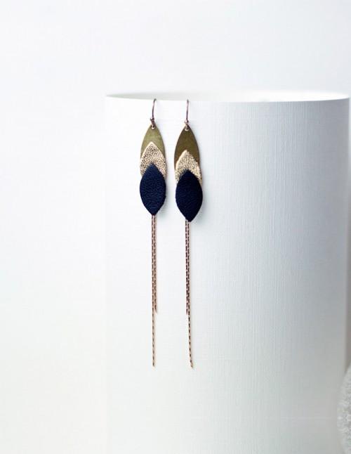 boucles d'oreilles longue colibri,boucle,oreille,bijou,createur,fantaisie,mementomori,laiton,cuir