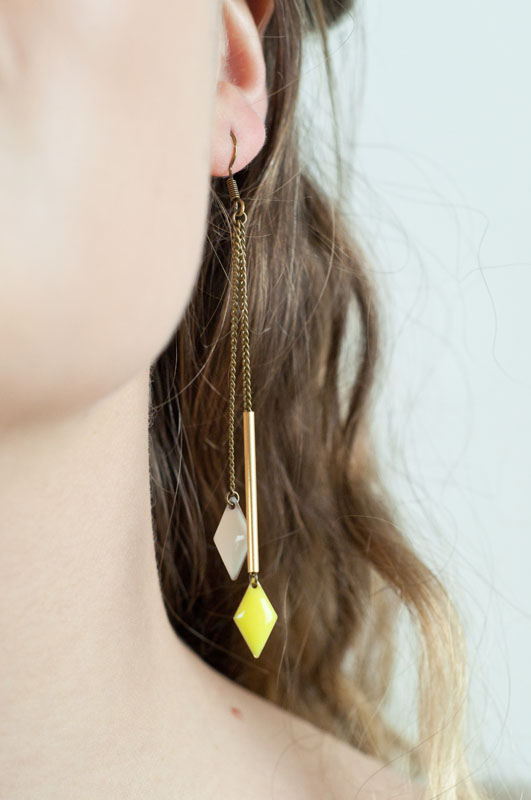 mementomori,bijoux,boucles,oreilles,vega,createur,fantaisie,tendance,or,laiton,losange,ceremonie,pas,cher