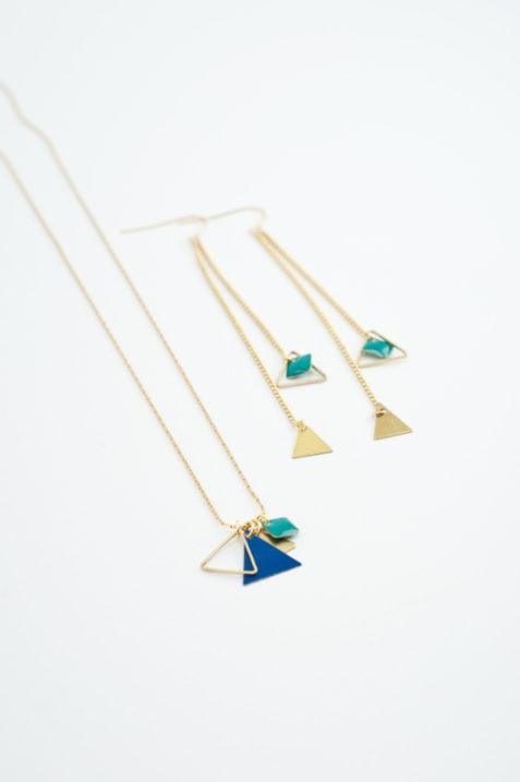 mementomori,bijoux,bijou,createur,fantaisie,collier,boucles,oreilles,triangle,laiton