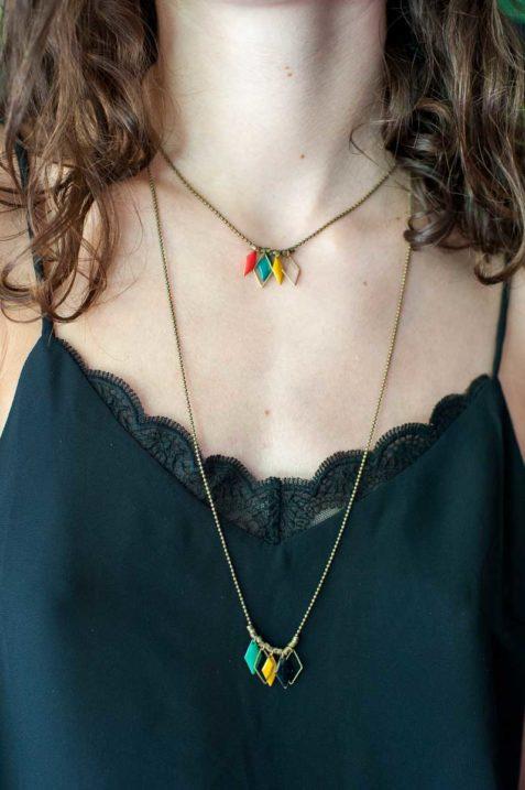 mementomori,bijoux,femme,createur,sautoir,collier,vega,laiton,triangulaire,peint